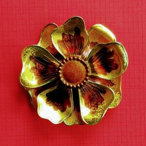 Made in Germany enamel brown & gold flower pin